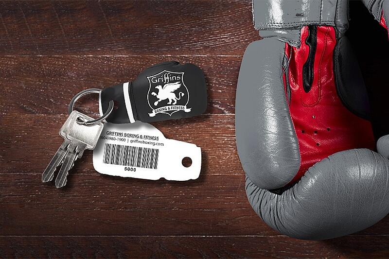Boxing Glove Shaped Key Tag with Barcode - Gym Membership Card