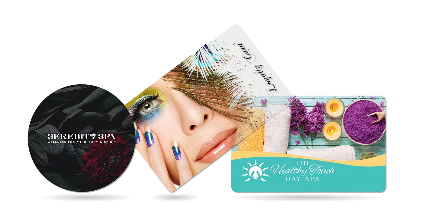 Spa marketing tools including a gift card and loyalty card