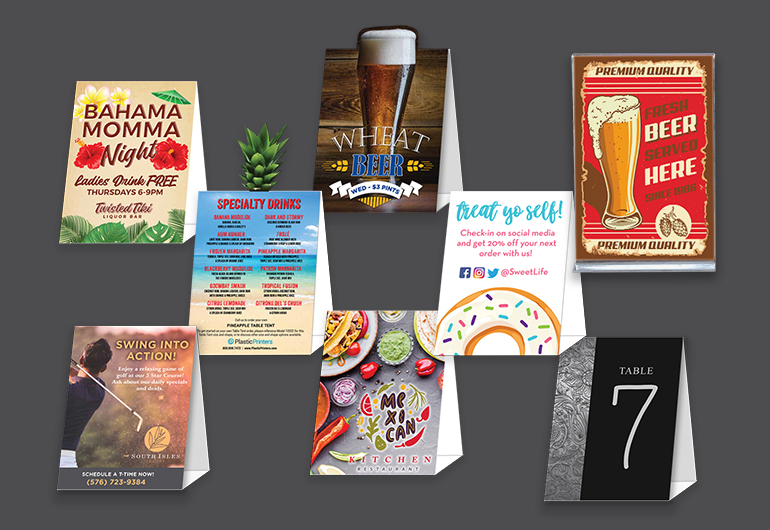 Restaurant table tents, table signs, counter cards