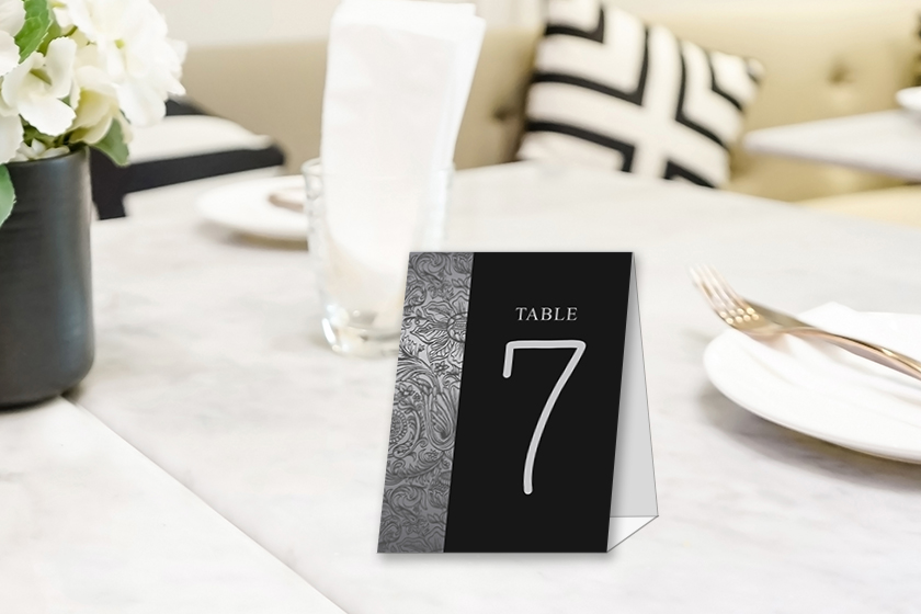 Custom table tents with numbers for a wedding