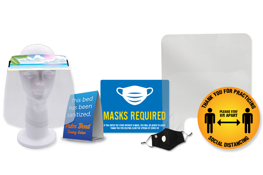 PPE and safety tools - face shields, table tents, masks, floor decals, signage