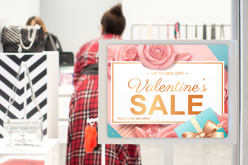Signage advertising a Valentine's Day sale