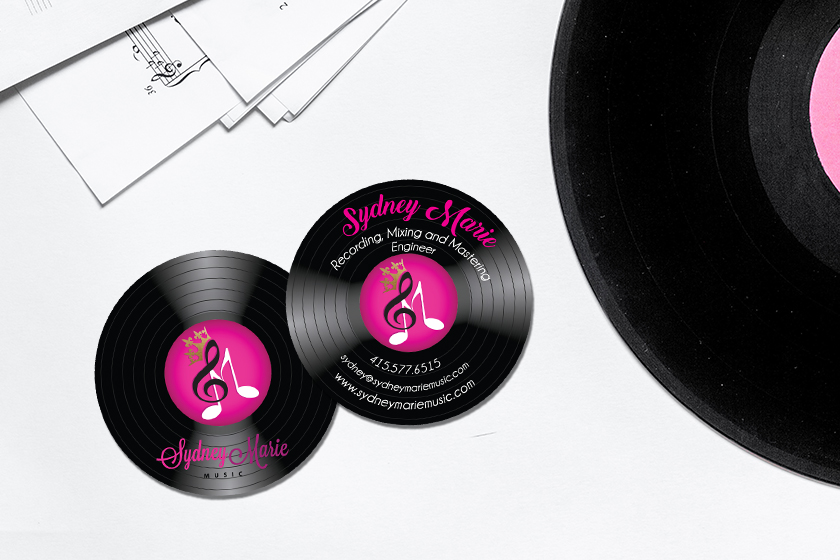 Circle business cards that look like a record