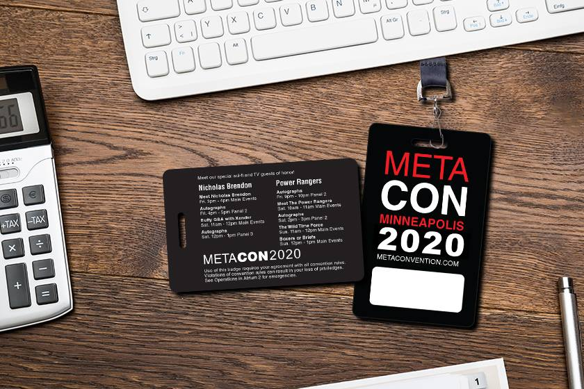 Example of Custom Convention Badges for MetaCon Minneapolis with Writable area for personalization and event schedule