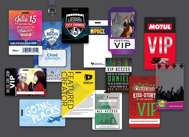 Custom VIP Passes, Access Badges, Summit Pass, Convention Badges, Festival Pass and more.