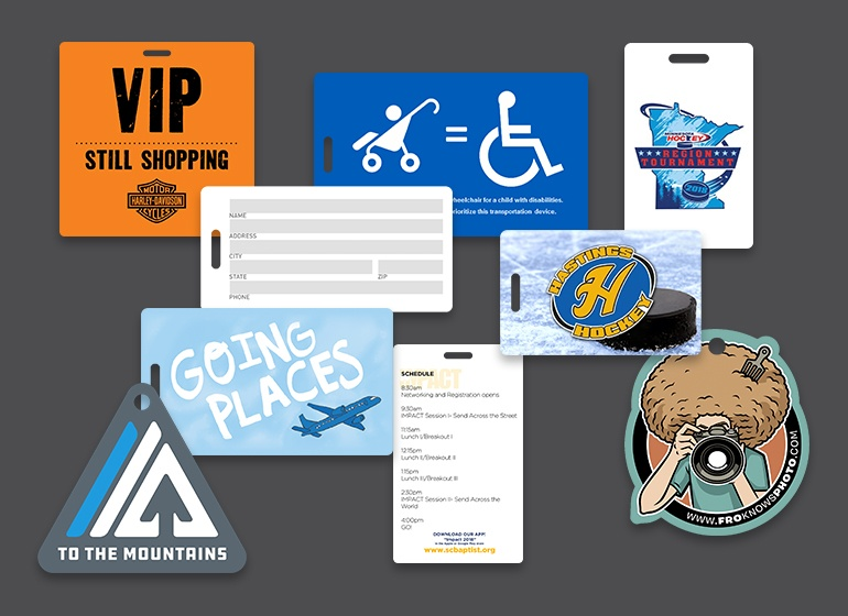 Custom printed die cut custom shape luggage tags with full color printing and a writable surface
