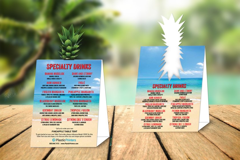 Die Cut Table Tent Designs for your Tiki Bar