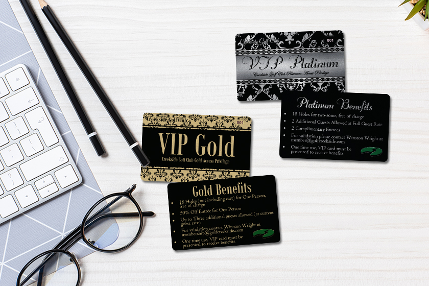 Example of design elements for creating VIP cards