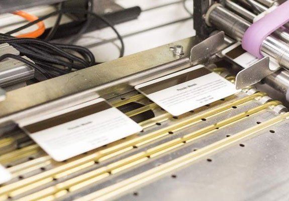 plastic cards being printed