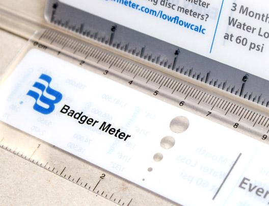 Example of Plastic Ruler Bookmark for Badger Meter
