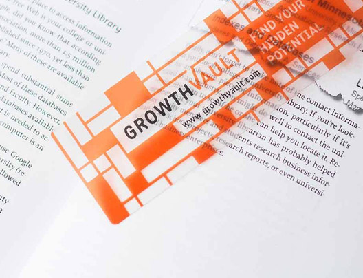 Example of Clear Plastic Bookmark for Growth Vault