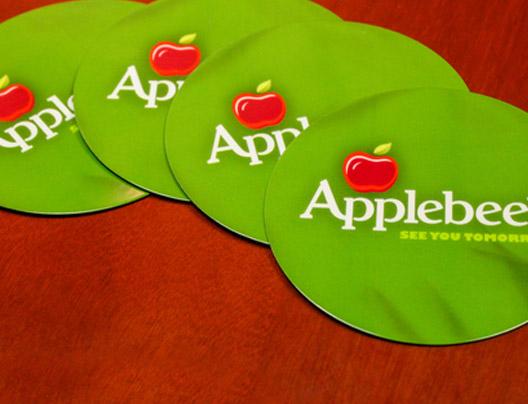 Example of Custom Plastic Coasters for Applebee's Restaurant