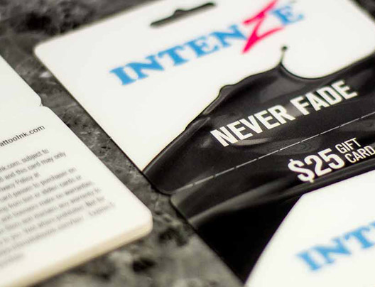 Example of Plastic Combo Cards for Intenze Never Fade