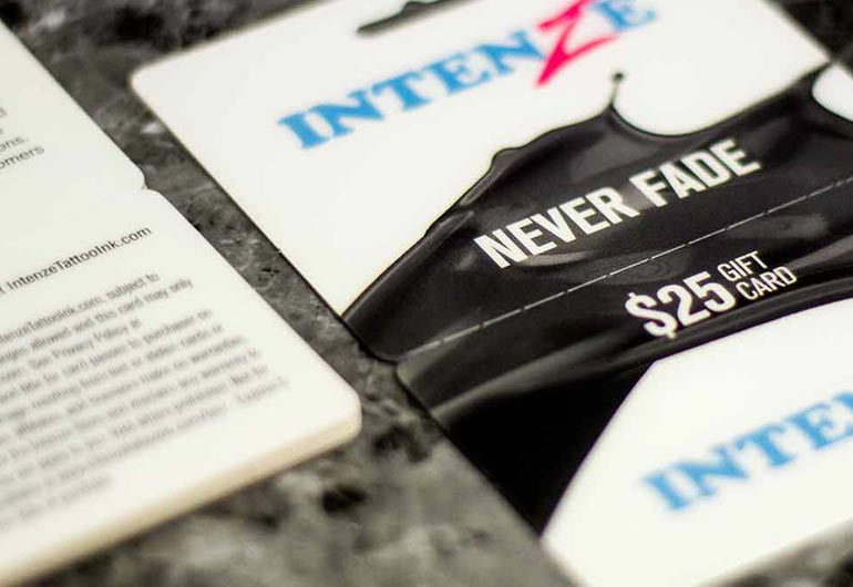 Example of a printed gift card for Intenze by Plastic Printers, Inc.