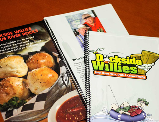 Example of Custom Menu Card for Dockside Willies