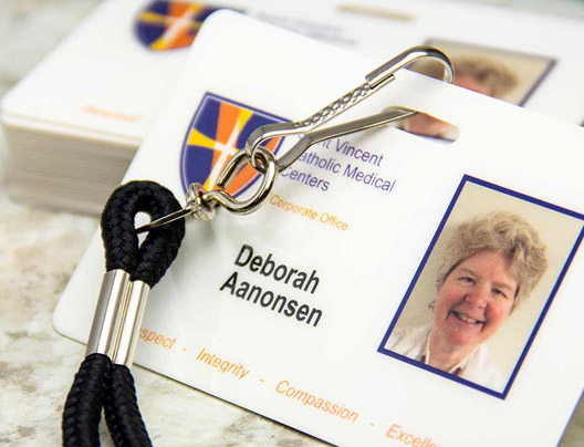 Example of Plastic ID Badges for Saint Vincent Catholic Medical Centers