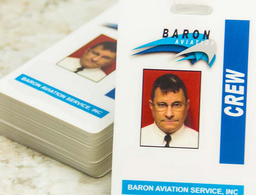 Example of ID Badge for Baron Aviation by PlasticPrinters.com