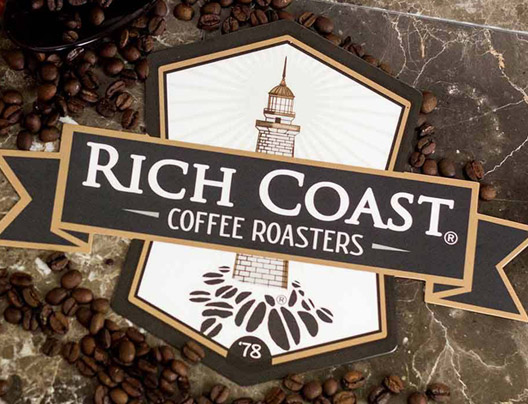Example of Plastic Indoor Sign Created for Rich Coast Coffee Roasters