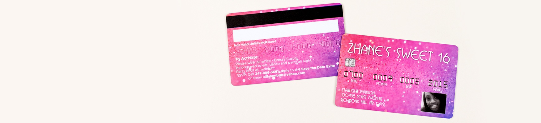 Embossed Faux Credit Card Sweet 16 Birthday Invitations