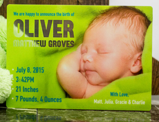 Example of Custom Baby Announcement Card by PlasticPrinters.com, transparent card
