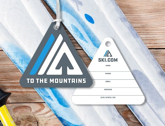 Example of Triangle Shaped Writable To the Mountains Ski.com Custom Printed Ski Pass Cards by Plastic Printers, Inc.