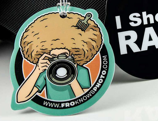 Example of Die Cut Luggage Card for Fro Knows Photo