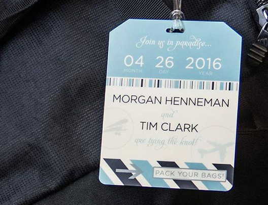 Example of Travel Trade Show Luggage Card for Destination Wedding Luggage Tags by Plastic Printers, Inc.