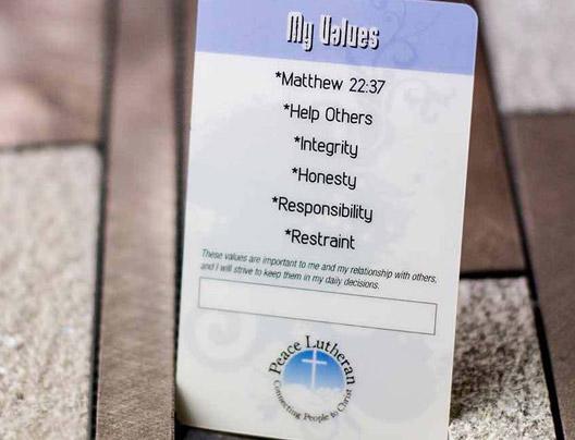Example of Custom Prayer Card by Plastic Printers, Inc.
