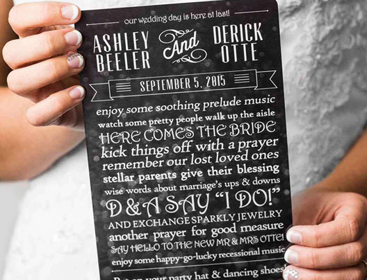 Example of Custom Wedding Program by Plastic Printers, Inc.