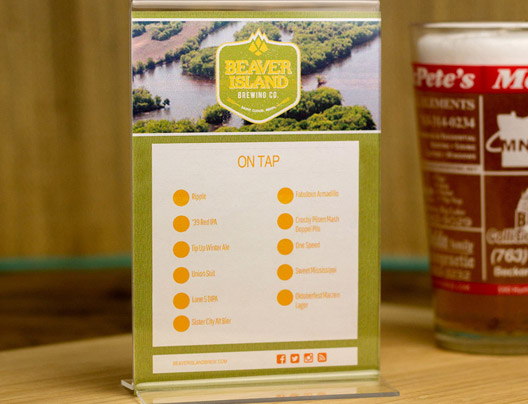 Example of Custom Table Tents Card for Beaver Island