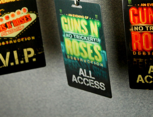 Example of Custom Guns N' Roses Concert All Access Backstage Passes by PlasticPrinters.com