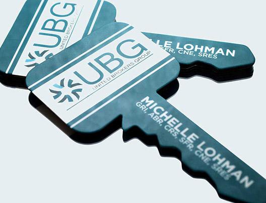 custom key shaped die cut business cards