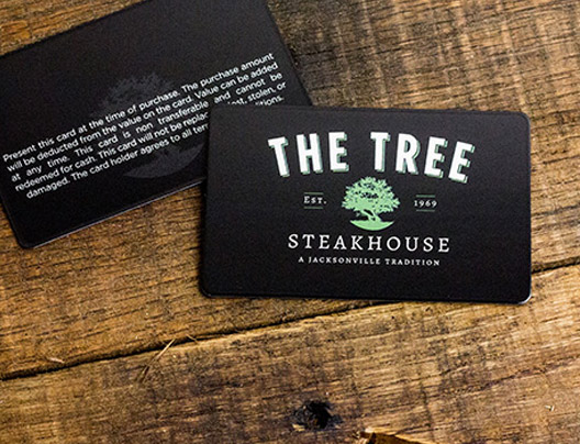Example of custom gift cards designed by Plastic Printers for restaurant