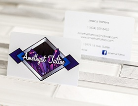 Amethyst Tattoo business card diamond design