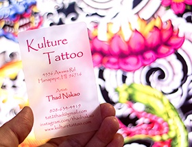 Example of a frosted plastic business card for a tattoo parlour.
