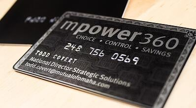 Business card design the most popular plastic business card options example of embossed business cards for mpower360 that look like a credit card colourmoves