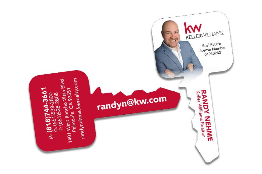 Key shaped business cards