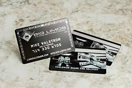 Business card design the most popular plastic business card options metallic business cards for big limos elite cusotm mobile offices and limo colourmoves