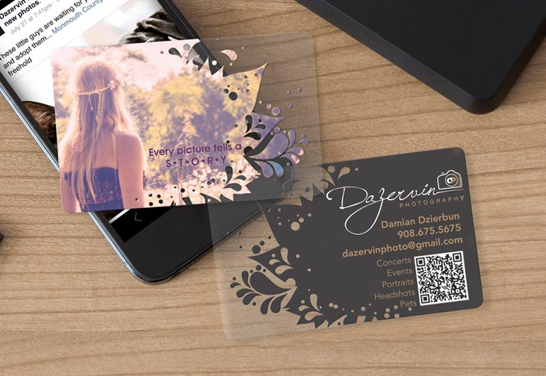 Example of custom design business card for Dazervin Photography