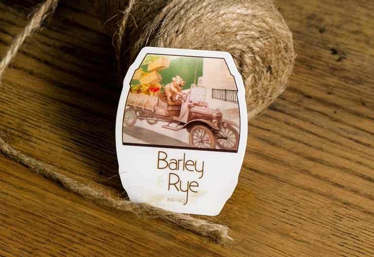 Barley Rye die cut business card example