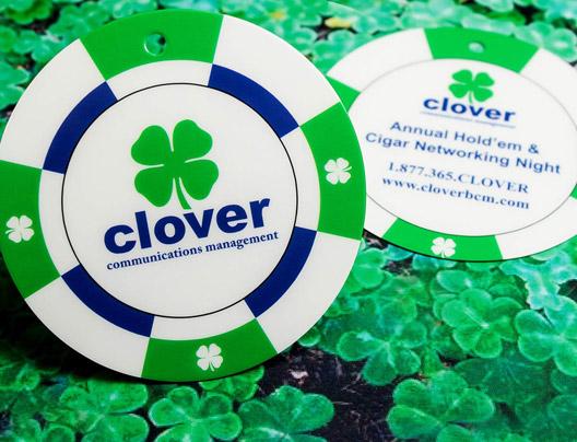 Clover die cut circle card example