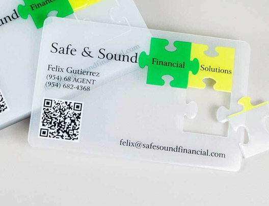 Custom shapes die cut business cards plastic printers inc safe and sound financial solutions die cut rectangle cards reheart Image collections