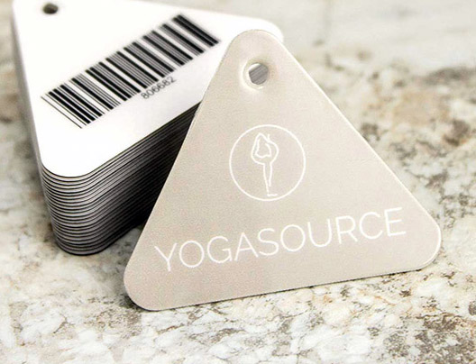 Yoga Source die cut triangle card