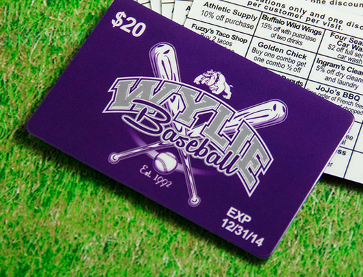 Example of discount card for Wylie Baseball team