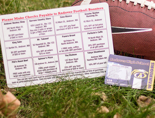 Example of school group or team fundraiser cards
