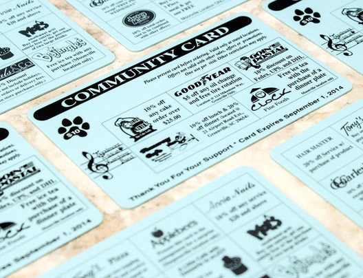 Example of custom fundraising card for school district