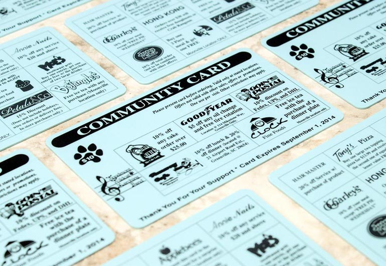 Example of custom fundraising cards from Plastic Printers, Inc.