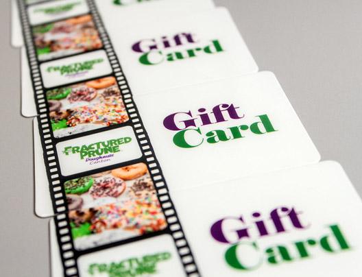 Example of custom gift card for restaurant named Fractured Prune.