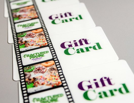 Example of custom gift card for restaurant named Fractured Prune.