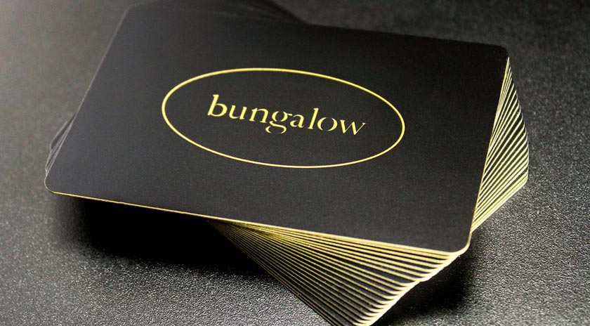 Custom black gift cards for Bungalow